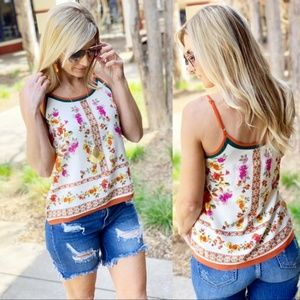 Infinity Raine Tops - Ivory Floral Dressy Tank with Adjustable Straps